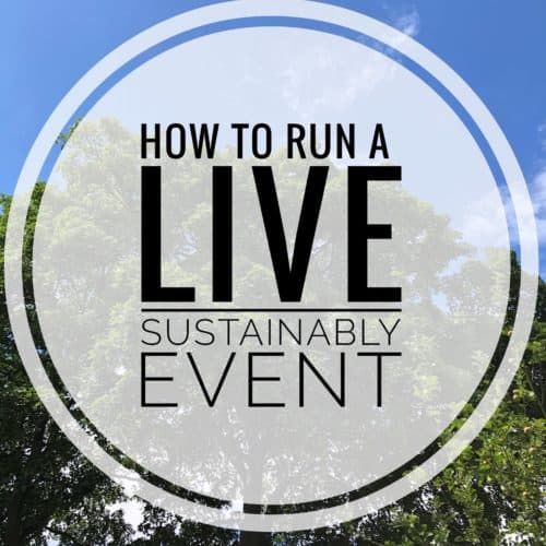 Blue sky overlaid with How to Run a Live Sustainably event