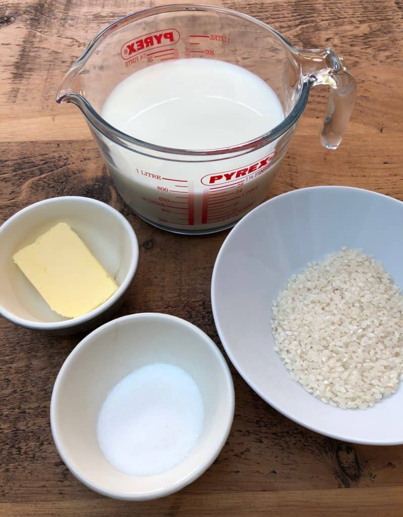 Rice Pudding Pots ingredients rice milk butter sugar