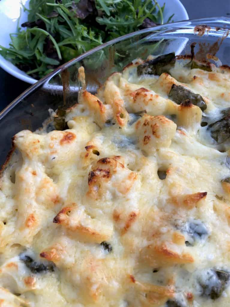 baked cauliflower cheese pasta with spinach and green salad