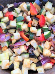 chopped onion courgette pepper aubergine