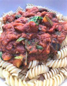 basic tomato pasta sauce on fusilli pasta