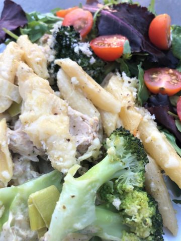 chicken and broccoli pasta bake with salad