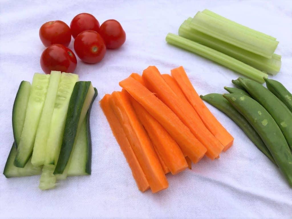tomatoes cucumber carrots celery sugar snap peas crudites