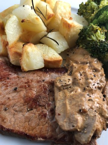 British Rose Veal Escalopes with potatoes mushrooms broccoli