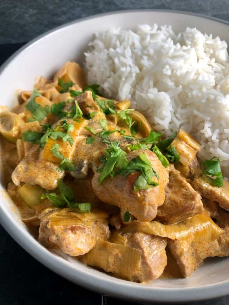 quick pork or veal stroganoff with creme fraiche and rice