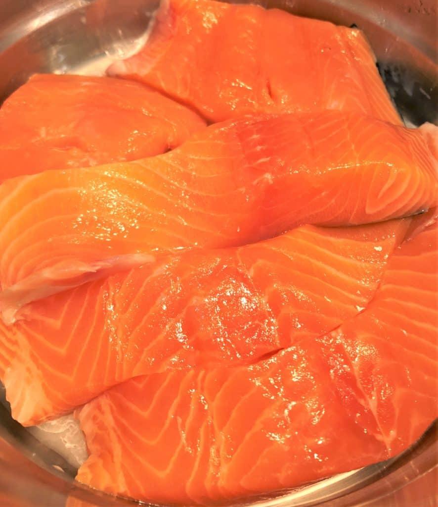salmon fillets in steamer