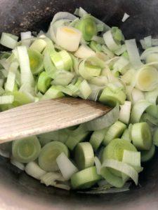 leek & onion in pan