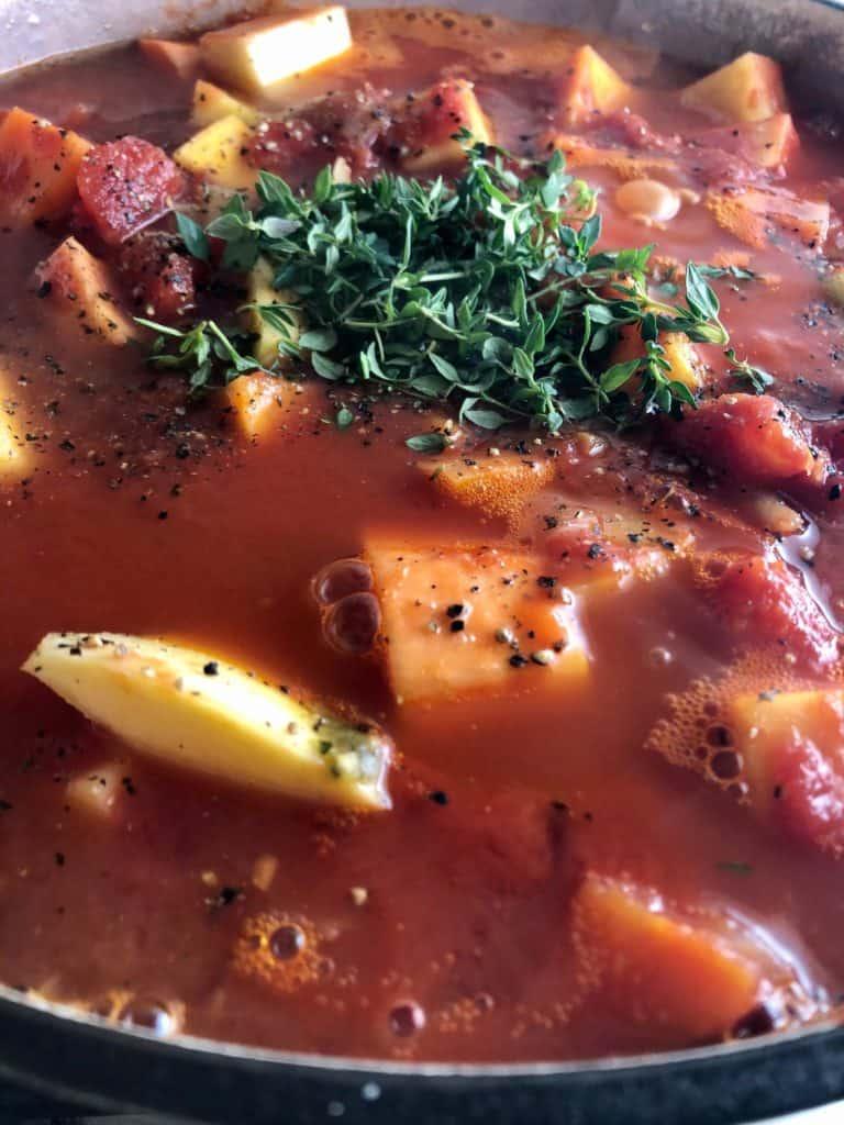 winter vegetable stew in pan