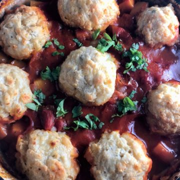 Winter Vegetable Stew with Cheesy Dumplings
