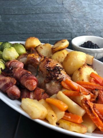 Christmas Dinner for 2 with cranberry sauce turkey pigs in blankets roast potatoes sprouts carrots parsnips
