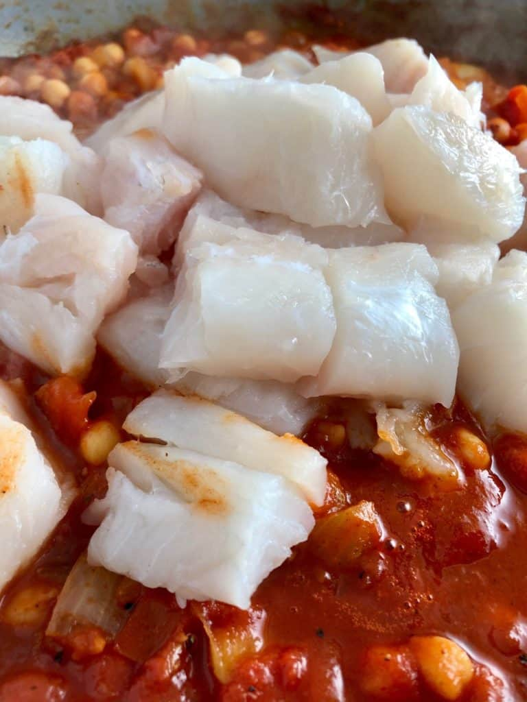 Spanish Fish and Chickpea Stew fish added