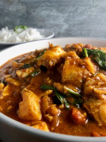 Easy fish curry with side of rice