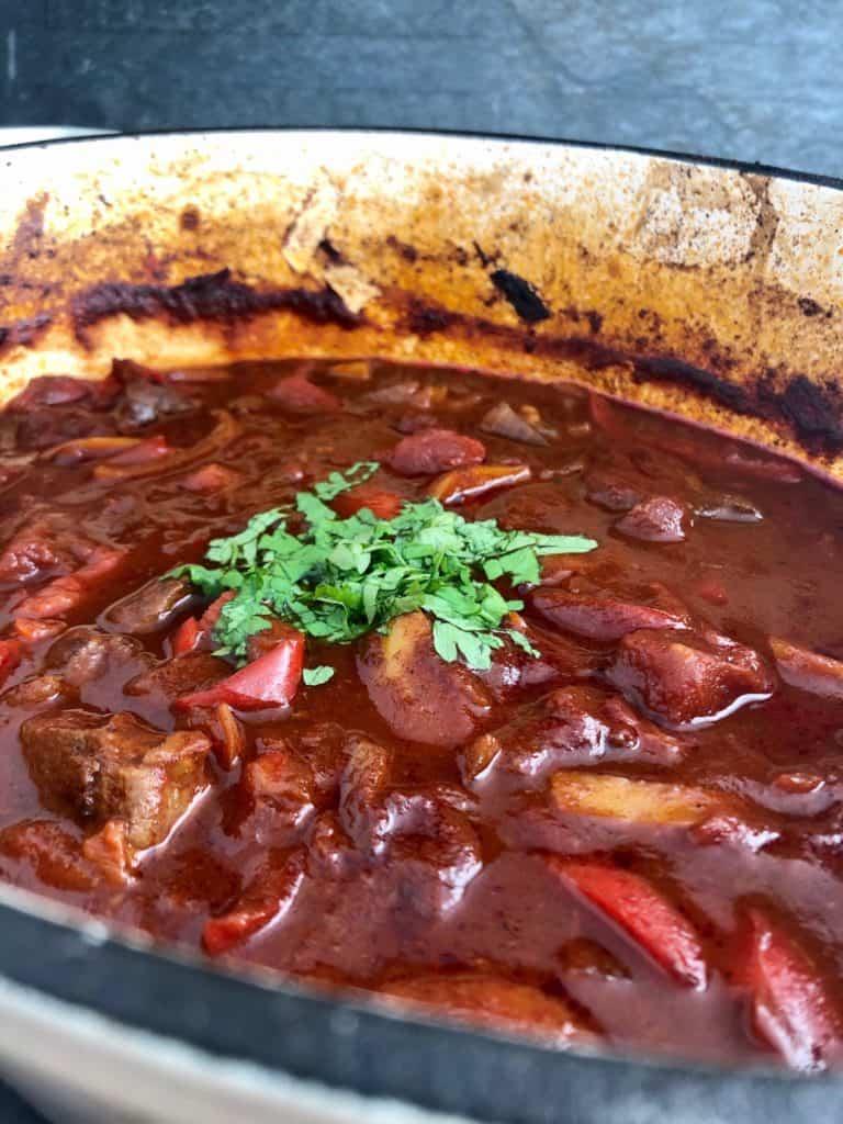 hungarian beef goulash in casserole dish