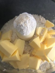 butter flour ground almonds in food mixer