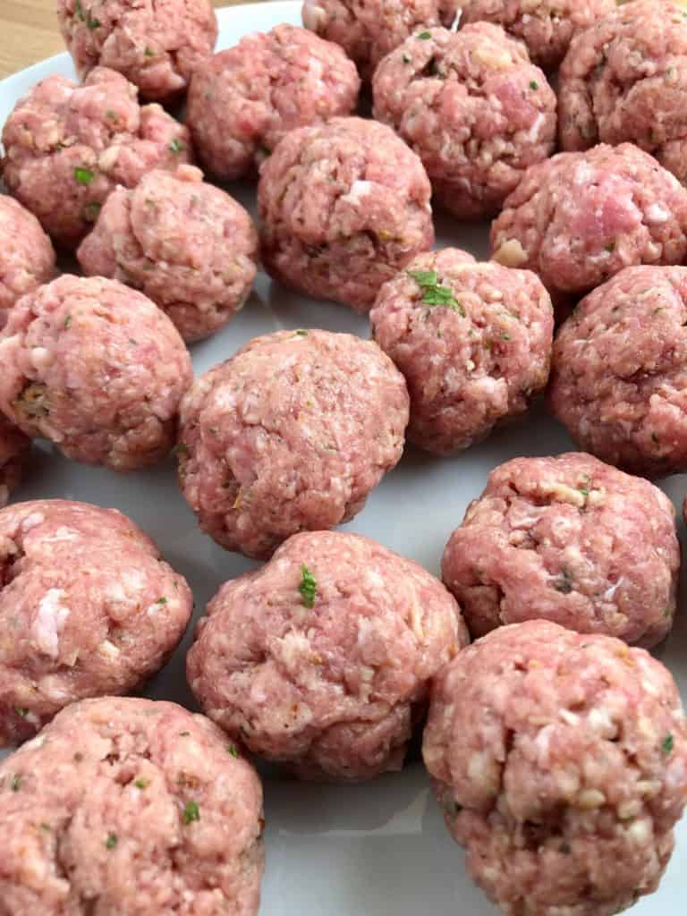 pork meatballs with spaghetti recipe meatballs ready for frying