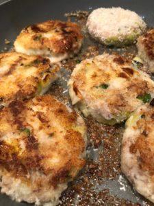 smoked mackerel fishcakes frying in pan