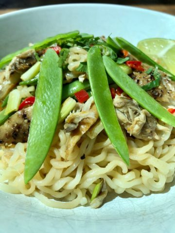 Thai Style Mackerel with Noodles on plate