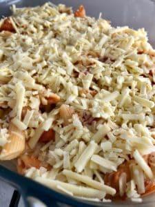 tuna pasta bake ready for oven