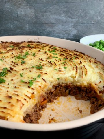 cottage pie cooked in dish showing meat filling