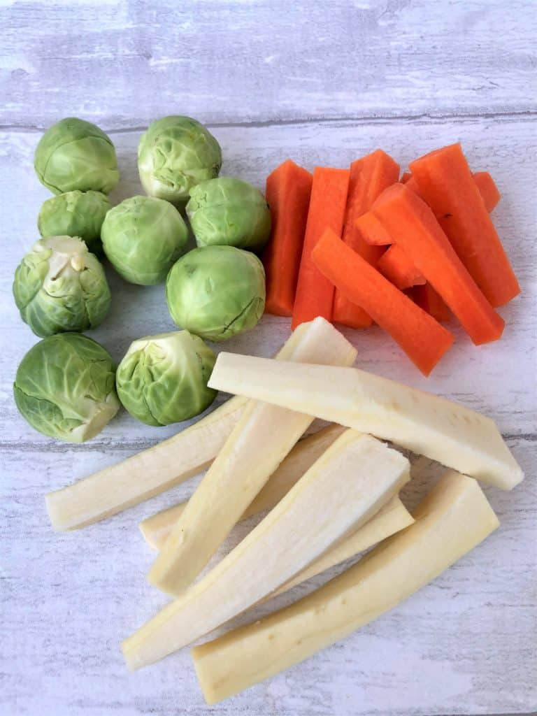 Christmas Dinner for two sprouts trimmed carrots parsnips peeled chopped matchsticks