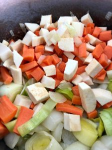 vegetable soup chopped carrots and other veg