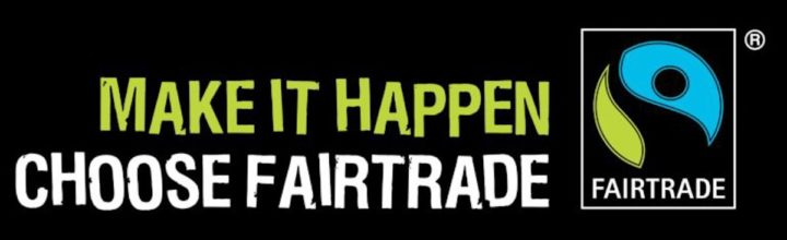 Fairtrade Banner with Logo and words make it happen choose fairtrade
