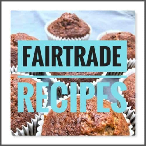 fairtrade recipes text over image muffins