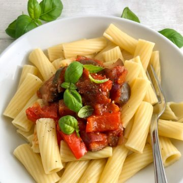 tomato pasta sauce served over rigatoni with fresh basil leaves