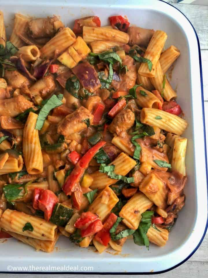 sausage pasta bake without cheese topping ready for oven
