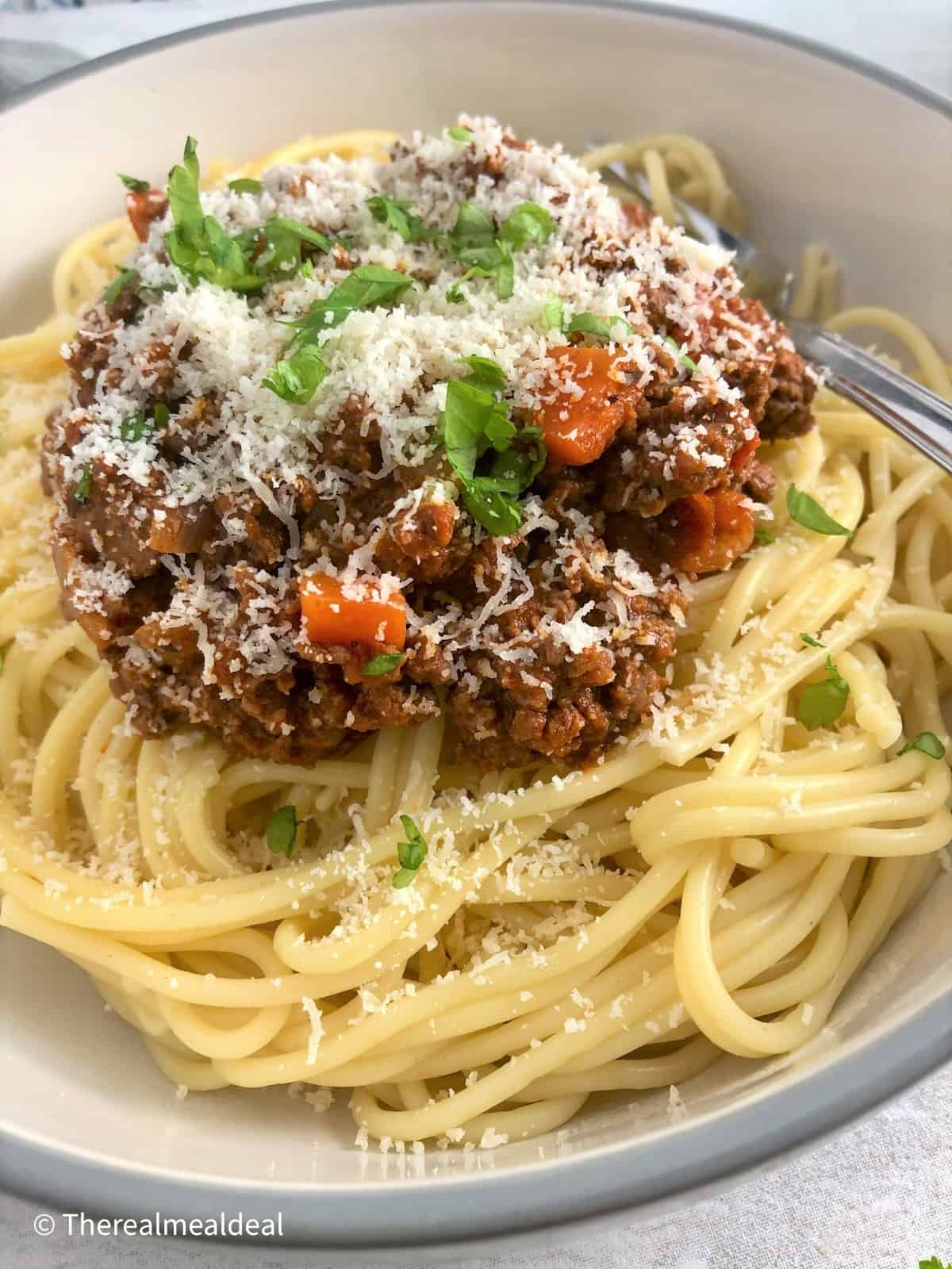 spaghetti bolognaise sauce on spaghetti sprinkled with parmesan cheese