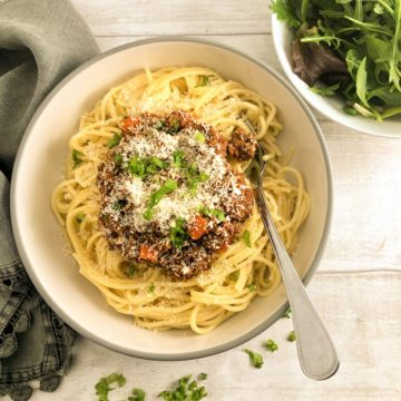 spaghetti bolognaise sauce in bowl with spaghetti