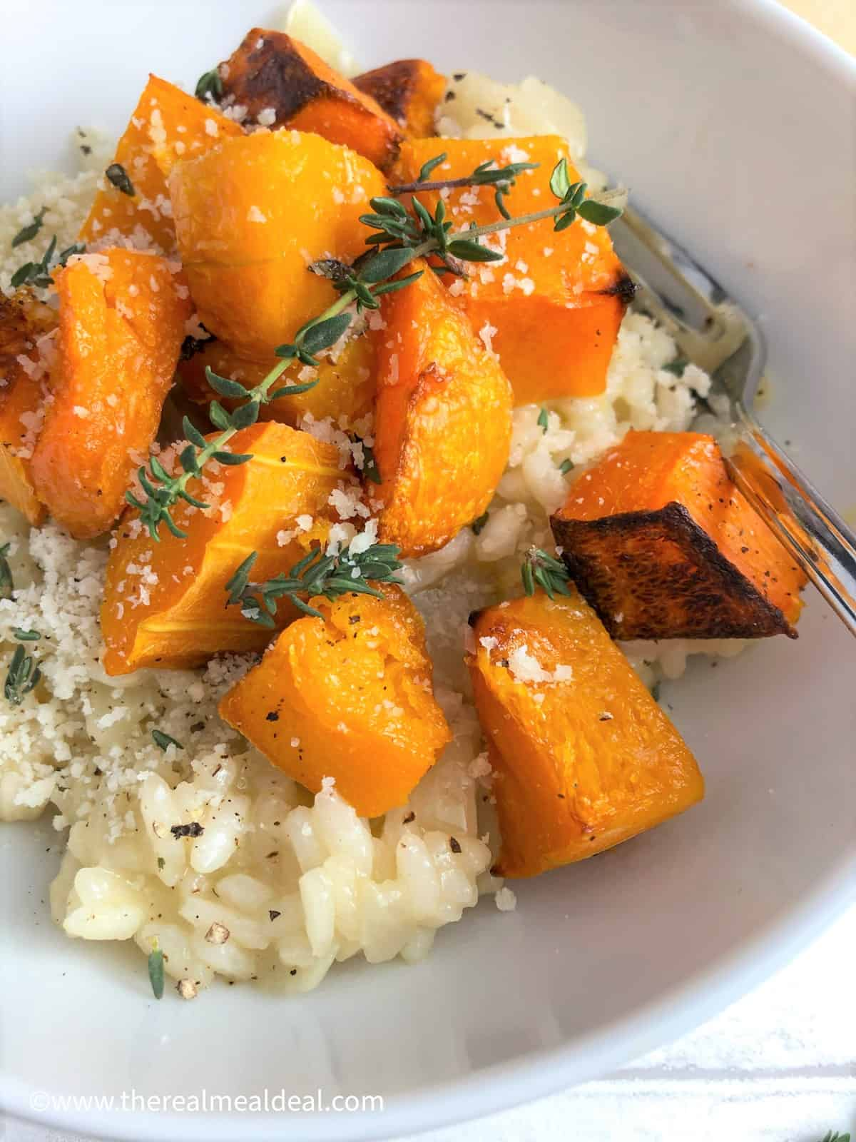 roasted butternut squash risotto in bowl