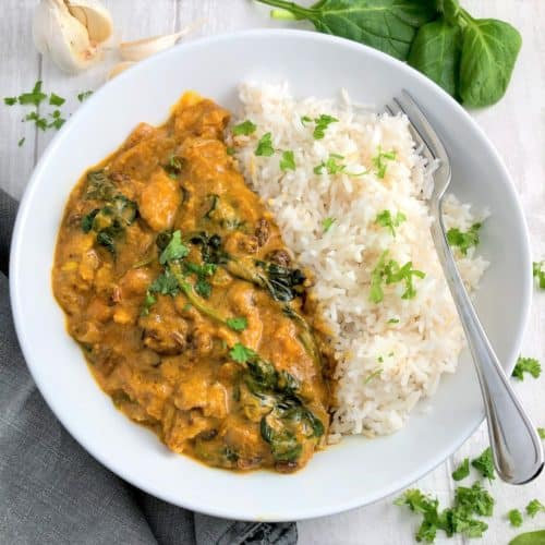 chicken korma and rice in bowl topped with fresh coriander
