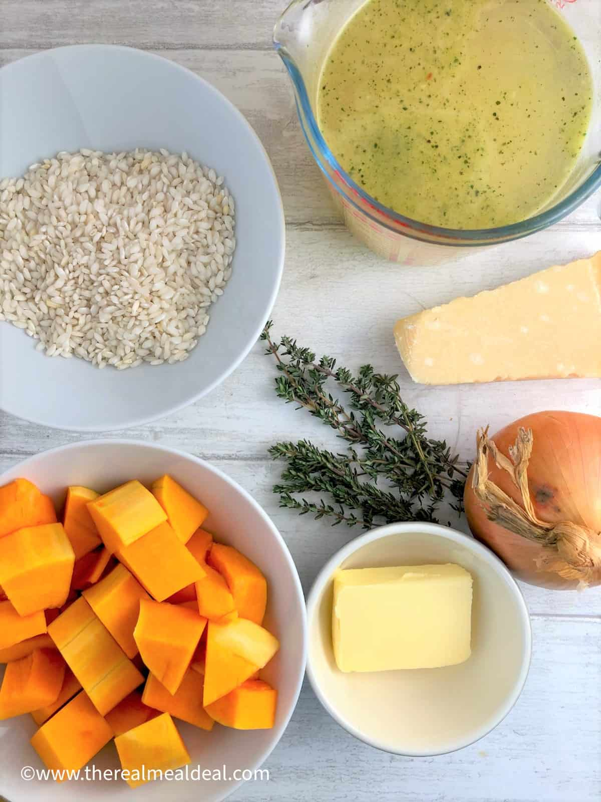 butternut squash risotto ingredients butternut squash arborio rice butter onion stock thyme parmesan cheese