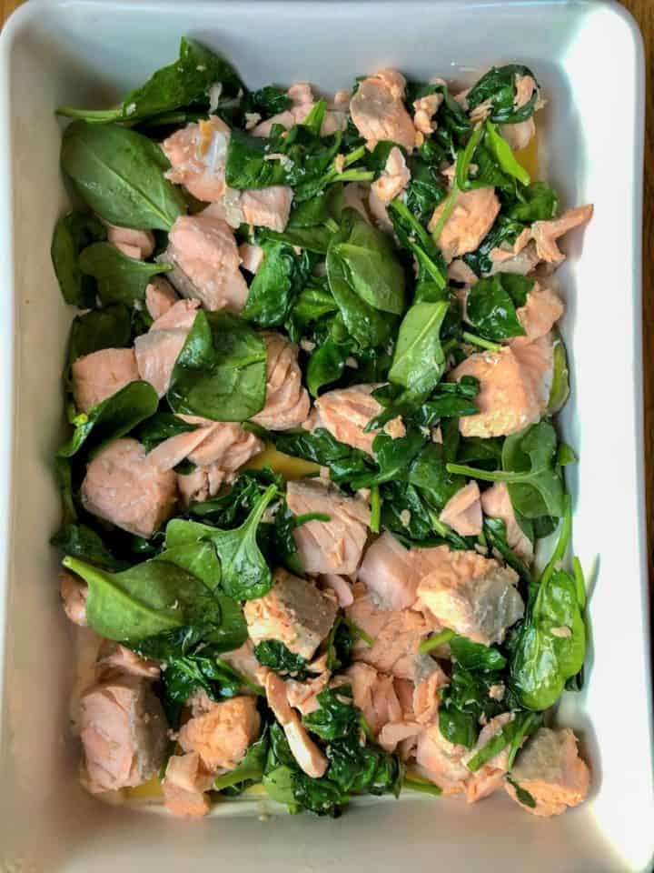 salmon and spinach on top of lasagne sheets in dish
