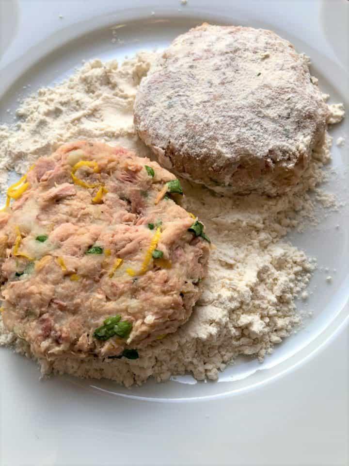 tuna fishcakes on plate dusted with flour