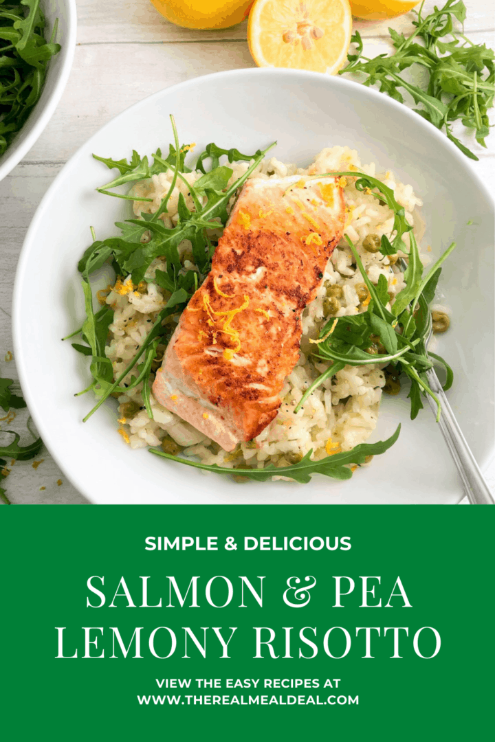 Salmon fillet risotto pinterest image