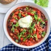 vegan mixed bean hungarian goulash topped with fresh parsley