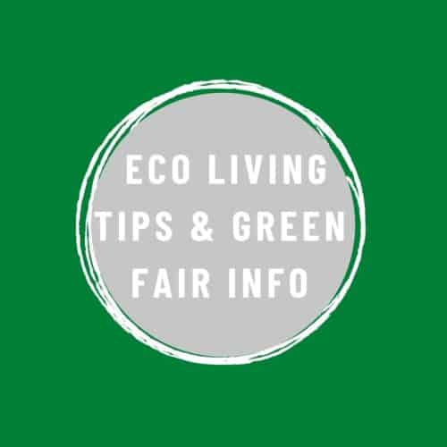 Eco Living and Green Fair Info text on green background