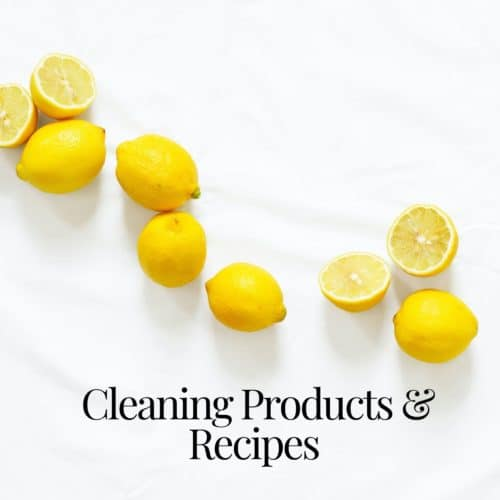 fresh lemons on white background with text overlay cleaning products and recipes