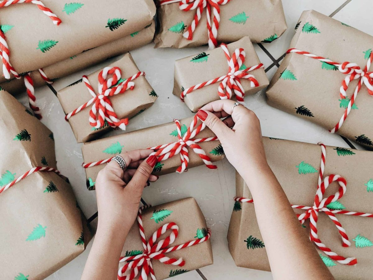 parcels wrapped in brown paper with red and white string
